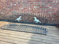 Pair Of Ball Topped arched Wrought Iron Railings / Wall Toppers- can deliver