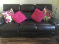 Reclining sofa and 2 armchairs