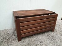IKEA Wooden Ottoman Pine Brown Storage Used Bedroom Living Room Furniture