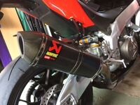 Aprilia RSV4 09-14 Akrapovic Carbon Slip On Exhaust, De Cat link pipe & R&G hanger