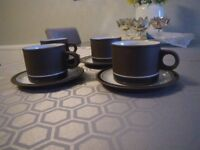 HORNSEA CONTRAST TEA SERVICE. NEVER USED. 4 x CUPS/SAUCERS; MILK JUG and LIDDED SUGAR BOWL.