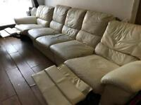Cream leather recliner sofa