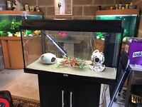 125l Juwel fish tank full set up with stand filter heater 2 x lights sand ornament all work in pic