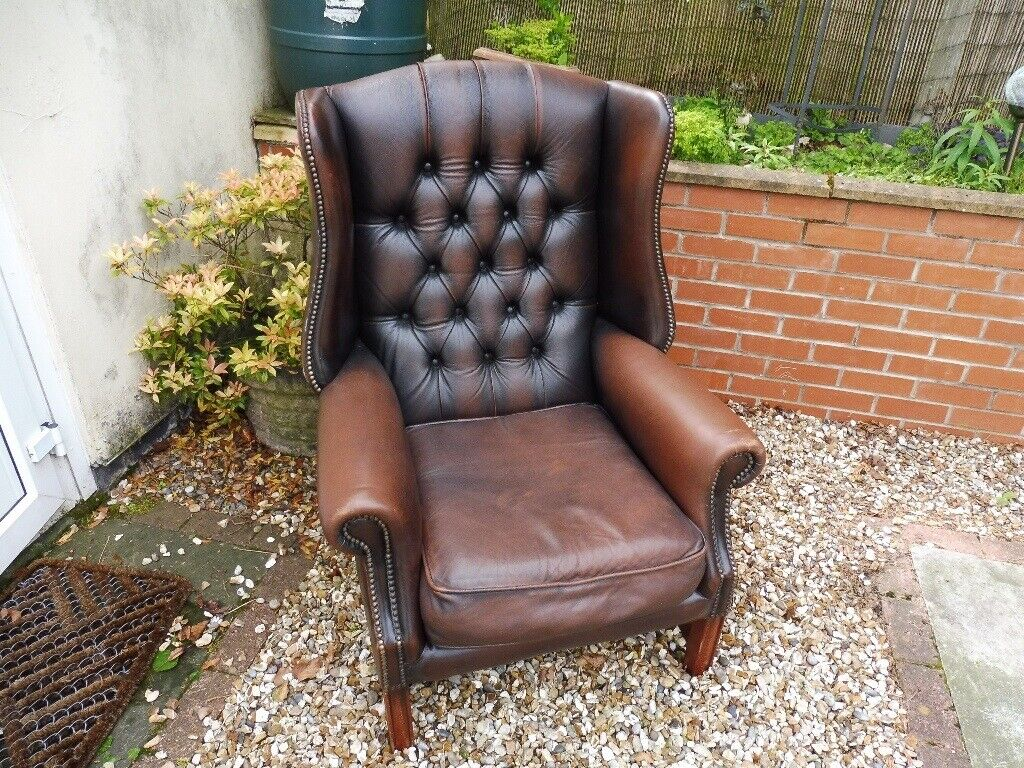 Peachy Vintage Chesterfield Queen Anne Wing Back Brown Leather Arm Chair In Walton Merseyside Gumtree Creativecarmelina Interior Chair Design Creativecarmelinacom