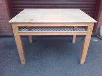 Lovely mexican pine dining table and four chairs for sale.