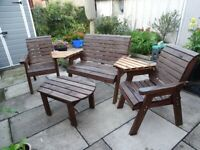 Charles Taylor Wood 4 Seater Garden Companion Multi Set with Cushion Pads plus 2 Seater Table