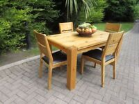 Chunky Solid Oak Kitchen Table & 4 Chairs
