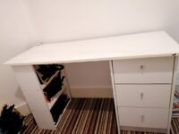 Great quality white desk for sale with drawers and shelves