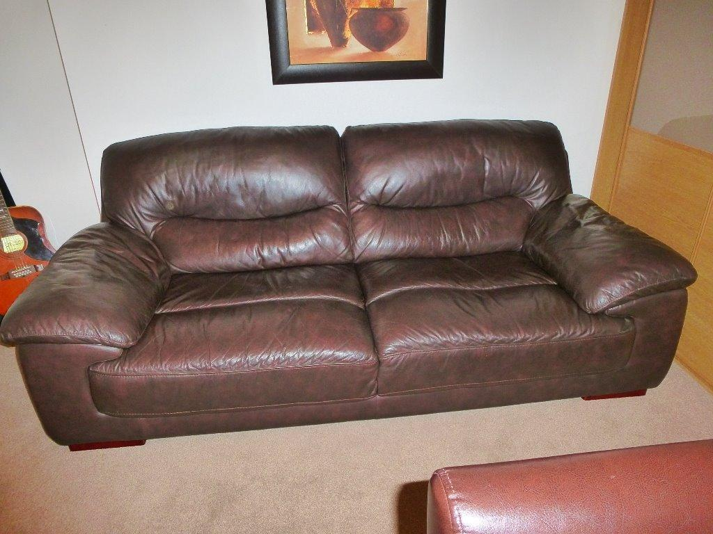 2 Seater Amp 3 Seater Brown Leather Sofas In Stonehouse