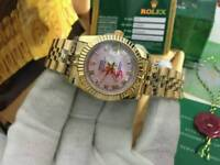 LADIES Rolex Datejust Pink Dial Stone face