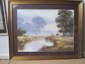 Picture, Country theme with Clydesdale horses beside river by Spencer Coleman