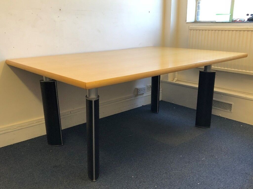 Large Solid Wood Desk With Heavy Duty Steel Legs Table Meeting