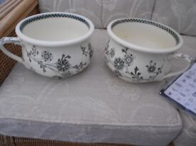 2 X ANTIQUE CHAMBER POTS A MATCHING PAIR. NO CHIPS , NO CRACKS IN EXCELLENT CONDITION.
