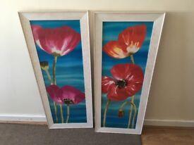 Lovely flower framed prints x 2