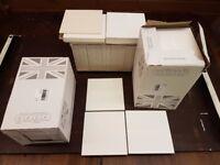 British Ceramic Tiles - 145 White Gloss Ceramic Wall Tiles - Square shaped dimensions 148mm x 148mm