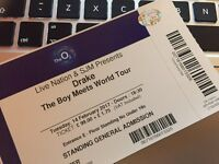 1 STANDING DRAKE TICKET LONDON 14th FEBRUARY VALENTINES O2 02