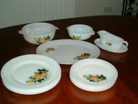 Vintage sixties pyrex dishes - yellow rose pattern