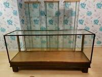Vintage glass shop counter and 3 tower glass shelves