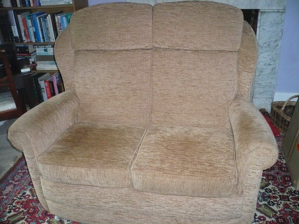 Two seater sofa in beige with brown fleck