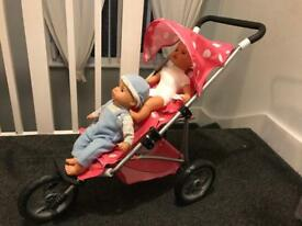 Children's pram & Twin Tiny Tears dolls