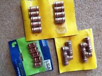 JOB LOT 15MM SOLDER EQUAL TEE AND STRAIGHT COUPLING PLUMBING JOINTS - CAN POST
