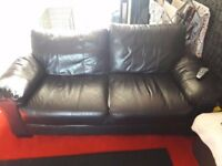 STILL AVAILABLE due to non collection FREE FREE X2 black leather sofas