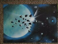 Original Space Spray Painting 'Asteroids Passing by' NOT A PRINT