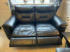 Black leather electric recliner sofa