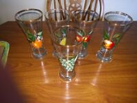 Vintage 1960's 5 Fruit Decorated Tall Glasses