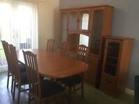 Dining table with 6 chairs with matching display cabinet and wi fi unit