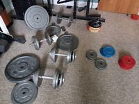 Over 300kg of Cast Iron Weight Plates - York, Weider Etc Plus Bars & Benches
