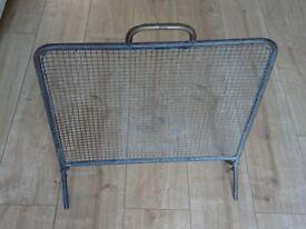 vintage brass framed wire mesh fire guard