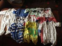 Used baby clothing baby grows £1.