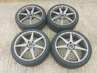 """Volk rays 18"""" alloy wheels refurbished brand new Toyo proxes tyres"""