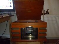 Steepletone record player with Radio/Tape cassette/CD player & CD Recorder built in speakers