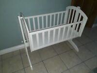 Obaby white crib cot rocking