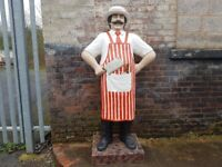 FABULOUS LGE ADVERTISING 6 FT BUTCHERS SHOP DISPLAY FIGURE STEAK BAR RESTAURANT DISPLAY DECOR PROP