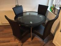 Glass Dining Table 4 Leather Chairs
