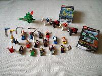 Lego knights, horses, dragon and dinosaurs