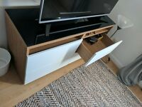 Ikea BESTA TV bench with drawers and glass top
