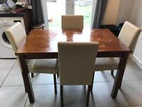 Dining table and 4 cream chairs