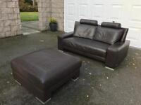 Italian Brown Leather Sofa & Footstool