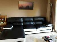 Black white L sofa