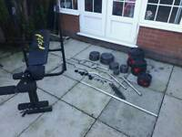 Weights, dumbells, weight bench, bars