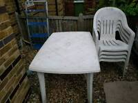 Plastic garden chairs and table free delivery