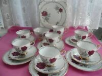 Vintage 21 Piece Bone China Tea Set Roses To Remember
