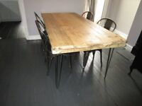 Industrial Dining Table, with reclaimed wood, vintage, shabby chic,reclaimed,metal base,table,tables