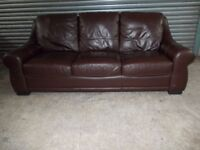 Dark Brown Leather 3-seater Sofa (Suite)