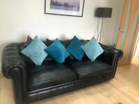 Arighi Bianchi Black Leather Chesterfield Sofa