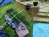 Fishing set for sale includes 2 man tent keep net and umbrella
